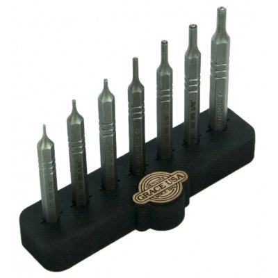 Grace USA Steel Short Roll Pin Punch Set with Bench Block Hero