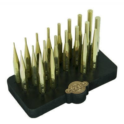 GRACE USA 20Pc Brass Punch Set with Bench Block Hero